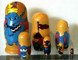 Vintage Hand Painted Disney Dumbo Elephant Circus Russian Nesting Dolls 7 Pieces