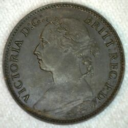 1884 Great Britain Bronze Farthing Uncirculated Coin Spot On Reverse Victoria