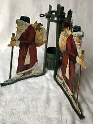 Rare-antique German Metal Cast Christmas Tree Stand, Painted
