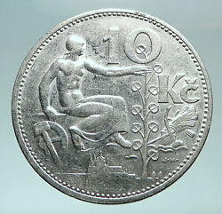 1932 Czech Republic Woman And Lime Tree Old Genuine Silver 10 Korun Coin I82476