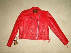 Vintage New Red Lether Jacket Motorcycle Biker 90s Sz M Womens