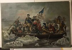 Oil Painting On Canvas George Washington Crossing Delaware Signed H.j. Schreiber