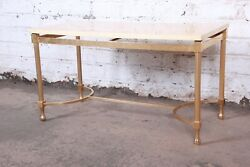 Aldo Tura Italian Modern Faux Marble And Gilded Brass Cocktail Table, 1960s