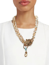 Heidi Dausbling Of The Jungle Crystal Drop Lion Necklace Nwt - Beautiful