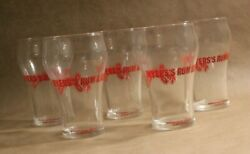 Myersand039s Rum And Cola The Jamaican 5pc Red Logo Vintage Bell Fountain Glass Cups