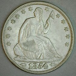 1854 Silver Us Seated Liberty Half Dollar Coin 50 Cents Uncirculated 50c