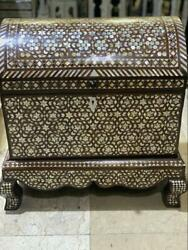 Antique Handmade Wood Jewelry Box Inlaid Mother Of Pearl 20.4x16