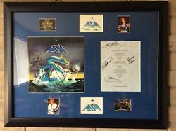 Asia Signed Lp Asia And Signed Lyric Sheet By All 4 Original Members Framed With