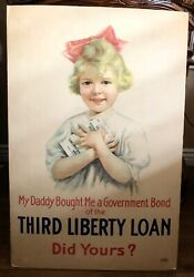 Original Wwi Daddy Bought Me Government Bond 3rd Liberty Loan 1917 Poster
