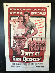 Original 1954 Duffy Of San Quentin One Sheet 1sh Movie Poster 27 X 41 Beauty
