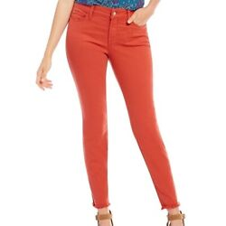 Nydj Alina Ankle Cropped Denim Jeans Coral Orange Lift Tuck Tech Size 2 Nwt 114