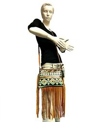 Raviani Crossbody Fringe Bag In Brown And Turq Navajo Embossed Leather Made In Usa