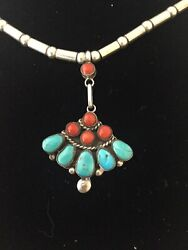 Vintage Native American Indian Sterling Silver Beaded Turquoise And Coral Necklace