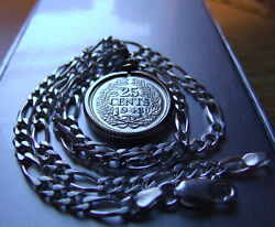 1943 Dutch Netherlands Silver 25 Cent Pendant W 16 Italy Sterling Silver Chain