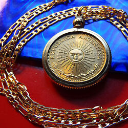 Argentinia Radiant Sol Sunshine Coin Pendant On A 24 Gold Filled Figaro Chain