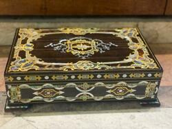 Egyptian Handmade Wood Jewelry Box Hollow Copper Inlaid Mother Of Pearl And Ebony