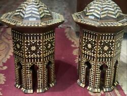 Pair Of Real Vintage Handmade End Table Inlaid Mother Of Pearl 12.4