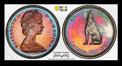 1967 Canada 50 Cents Silver Pcgs Pl65 Monster Toned Rainbow Colors