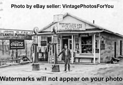 Old Atlantic Visible Gas Pumps Station Coca Cola Sign Sanitary Ice Cream Photo