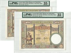 French Indochina Lot Of 2 X 100 Piastres 1936-39 Pick 51d Pmg 35 Vf. 1594