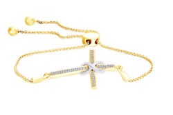 Natural Diamond Accent Infinity Cross Wrap Bolo Bracelet Sterling Silver