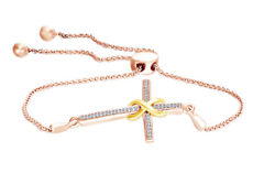 Natural Diamond Accent Bolo Infinity Wrap Cross Bracelet Sterling Silver And Gold
