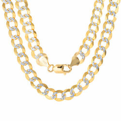 14k Yellow Gold Solid 10mm Men Diamond Cut Pave Cuban Curb Chain Necklace 22-30