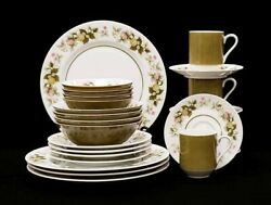 51 Pieces Mikasa Sumay Dinnerware Set Vintage 1970s Tawney Green Dishes Floral