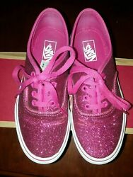 VANS Authentic Pink Glitter OFF THE WALL Girl Shoes 2.5 kids GUC FREE SHIPPING