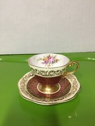 Vintage Eb 1850 Foley Tea Cup And Saucer- Red And Gold With Floral Design- Numbered