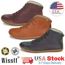 Womens Ankle Boots Leather Flat Heel Booties Ladies Lace Up Casual Shoes 5-9.5