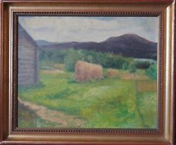 Antique American School Landscape Oil On Canvas Board With Gold Leaf Wood Frame