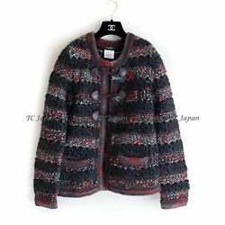 11a 2011 Red Charcoal Wool Cashmere Alpaca Blend Knit Cardigan Fr38