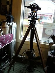 Vtg W Le Gurley Wood And Brass Transit Tripod And Carrying Case 630421