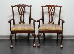 Councill Mahogany Chippendale Ball In Claw Dining Captainand039s Armchairs - Pair