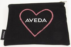 Aveda Heart Logo Bag NEW Clutch Toiletry Pouch Case Cosmetic Black Pink Canvas $12.90
