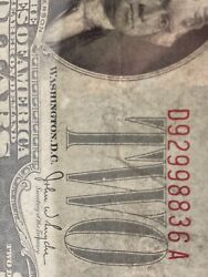 Error 1928 G 2 Two Dollar Bill 《red Seal Andnumber Shfit Down》 Xf! Super Rare!