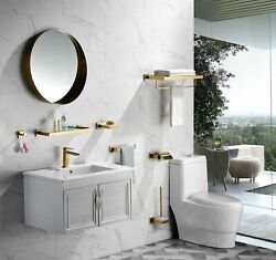 New Towel Holder Fashionable Stainless Steel Gold Paper Bathroom Accessories Set