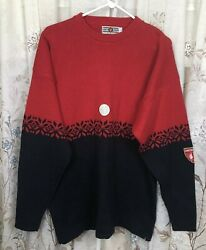 Vintage Lions Pride Sweater Nordic Amstel Beer Patch Made In Usa Xl Red Black