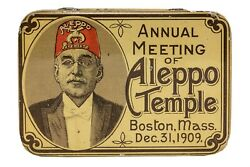 Scarce 1909 Shriners Aleppo Litho Flat Hinged Tobacco Tin In Exc. Condition