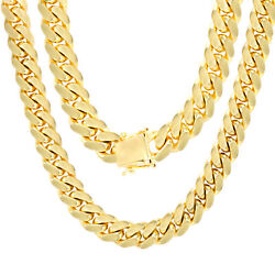 10K Yellow Gold Solid 10mm Mens Miami Cuban Chain Pendant Necklace Box Clasp 26