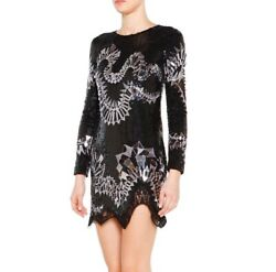 Nwt Emilio Pucci Sequin And Mirror Long Scalloped Hem Sleeve Dress