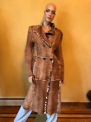 100 Authentic Sylvie Schimml Shearling Ladyandrsquos Coat Size 42 Made In France