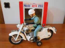 Tin Toy Police Auto Cycle Honda Bc Bandai Rare Limited Antique From Japan F/s