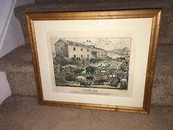 Original Currier And Ives Print Noah's Ark Great Color And Sheet Size
