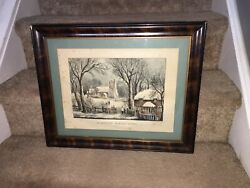 Original Currier And Ives Print An English Winter Scene Great Color And Sheet Size