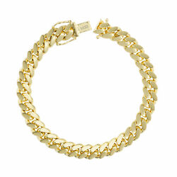 14k Yellow Gold Solid Mens 8mm Miami Cuban Link Chain Bracelet Box Clasp 8.5