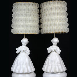 Vintage Lamp + Shade Pair, White Victorian Girl Woman Lady, Ruffle Lace, Works