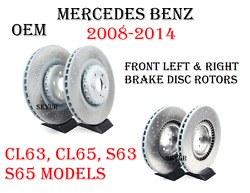 Front Brake Cross Drilled Disc Rotors Set Of 2 For Mercedes Cl63 Cl65 S63 S65