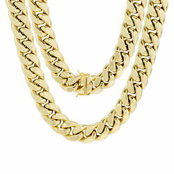 14K Yellow Gold Mens 14.5mm Miami Cuban Link Chain Necklace Box Clasp 24